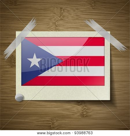 Flags Purto Rico At Frame On Wooden Texture. Vector