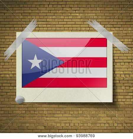 Flags Purto Ricoat Frame On A Brick Background. Vector