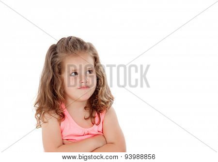 Angry little girl isolated on a white background