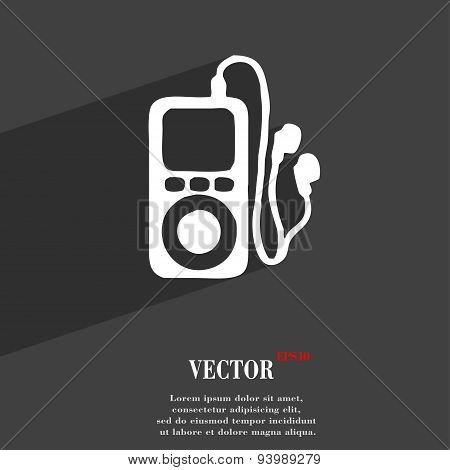 Mp3 Player, Headphones, Music Icon Symbol Flat Modern Web Design With Long Shadow And Space For Your