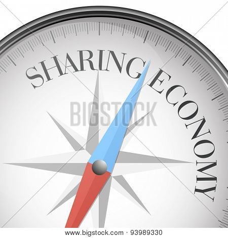 detailed illustration of a compass with sharing economy text, eps10 vector