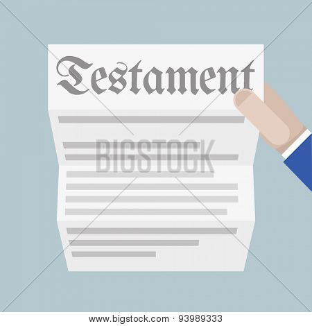 detailed illustration of a hand holding a sheet of paper with Testament headline, eps10 vector