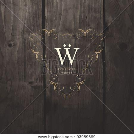 Vintage Frame for Luxury Logos, Restaurant, Hotel, Boutique or Business Identity. Royalty, Heraldic Design with Flourishes Elegant Design Elements. Vector Illustration Template