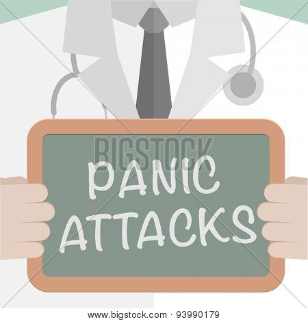 minimalistic illustration of a doctor holding a blackboard with Panic Attacks text, eps10 vector