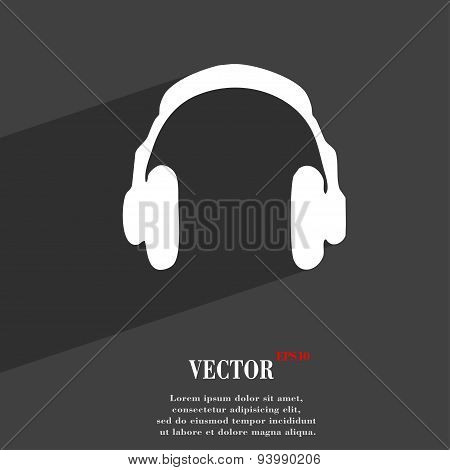Headsets Icon Symbol Flat Modern Web Design With Long Shadow And Space For Your Text. Vector