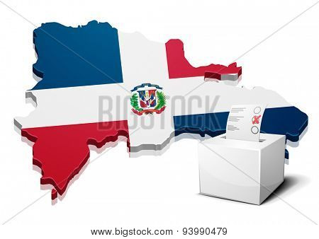 detailed illustration of a ballotbox in front of a map of Dominican Republic, eps10 vector