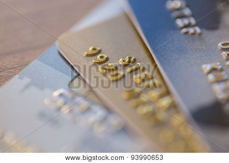 Closeup Of Three Credit Cards