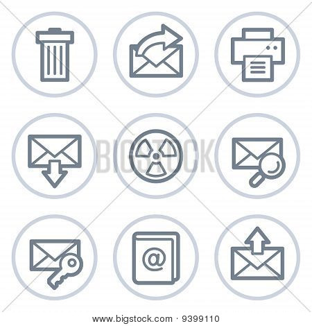 E-mail Web Icons Set 2, White Circle Series