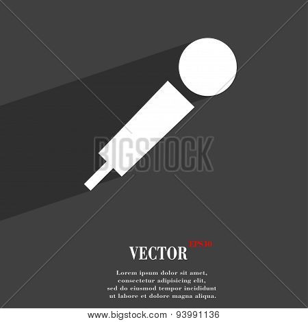Microphone Icon Symbol Flat Modern Web Design With Long Shadow And Space For Your Text. Vector
