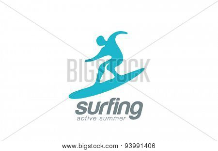 Surfer logo design vector template. Active water sport icon. Surf logotype. Surfing man abstract extreme concept.