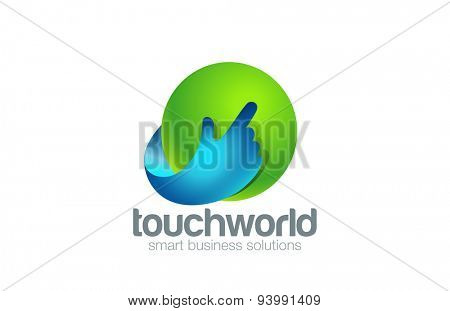 Hand Touch Logo Technology design vector template. Finger pressing button Logotype app concept. Touchscreen icon.