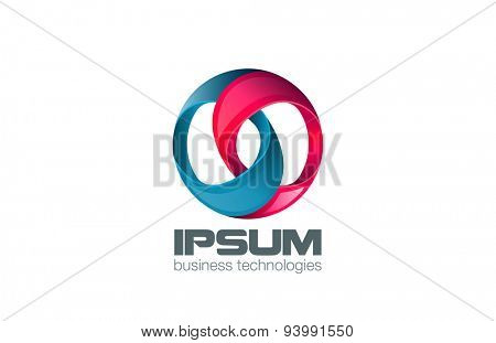 Circle Logo abstract design vector template. Two rings locked icon.Impossible infinity looped shape