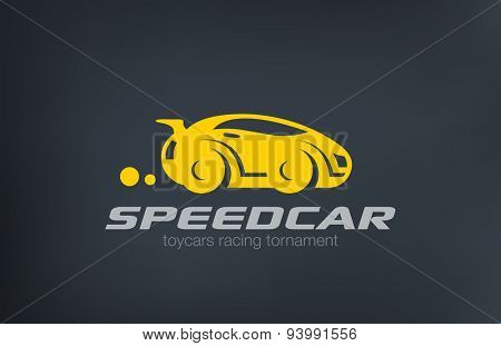 Logo sport car design funny vector template.Race and auto repair service Logotype. Vehicle silhouet