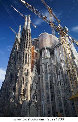 BARCELONA, SPAIN - MAY 3, 2015: The Basilica of La Sagrada Familia designed by Antoni Gaudi, its construction began in 1882 and is not finished yet.