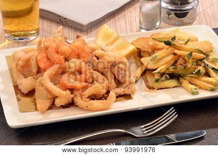 Fried sea salad dish.Fried shrimp.