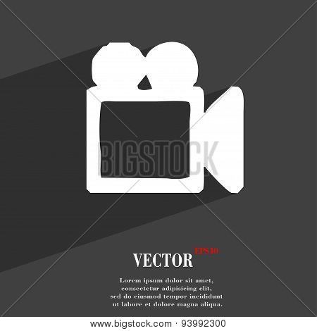Camcorder Icon Symbol Flat Modern Web Design With Long Shadow And Space For Your Text. Vector