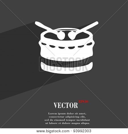 Drum Icon Symbol Flat Modern Web Design With Long Shadow And Space For Your Text. Vector