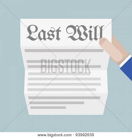 minimalistic illustration of a hand holding a sheet of paper with Last Will headline, eps10 vector