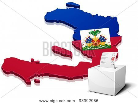 detailed illustration of a ballotbox in front of a map of Haiti, eps10 vector