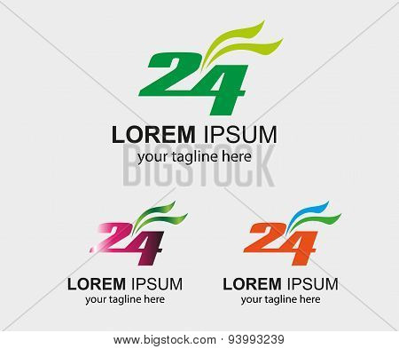 24 h logo hours vector