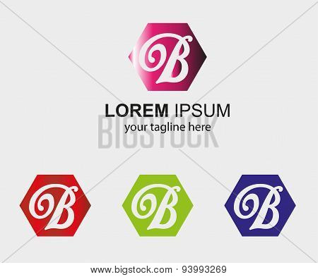 PrintAbstract B logo design template letter B