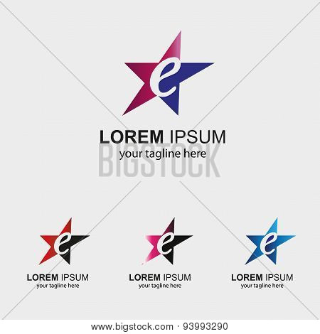 Abstract E letter logo design with star icon