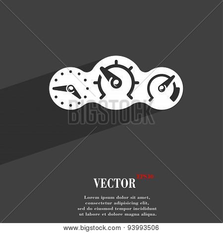 Speed, Speedometer Icon Symbol Flat Modern Web Design With Long Shadow And Space For Your Text. Vect