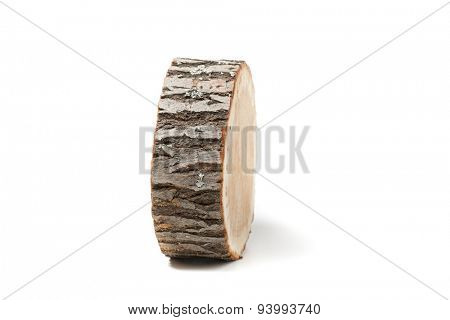 Cross section of tree trunk, isolated on white background