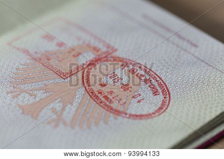 German Passport With Entry And Exit Stamp