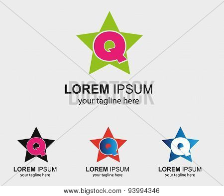 Abstract Q letter logo template with star icon