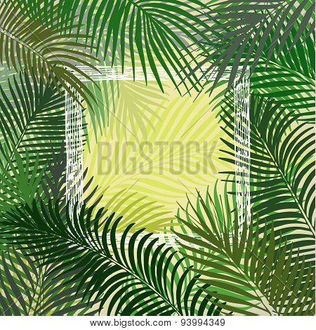 Hand drawn green frame of palm leaves