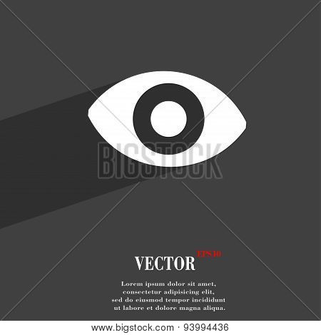 Sixth Sense, The Eye Icon Symbol Flat Modern Web Design With Long Shadow And Space For Your Text. Ve