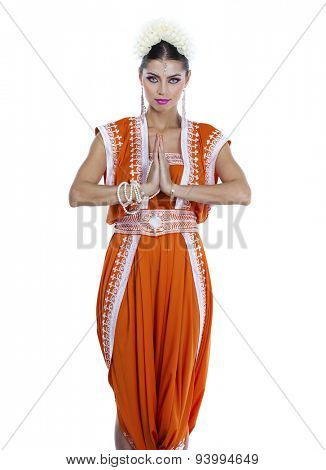 Full body young traditional Asian Indian woman in indian sari, isolated on white background
