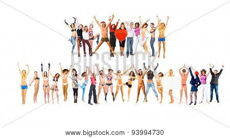 People Jumping Isolated over White
