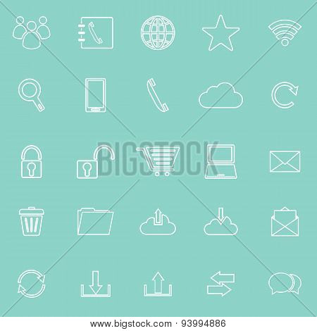 Communication Line Icons On Green Background