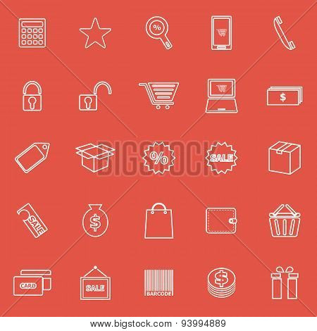 Shopping Line Icons On Red Background