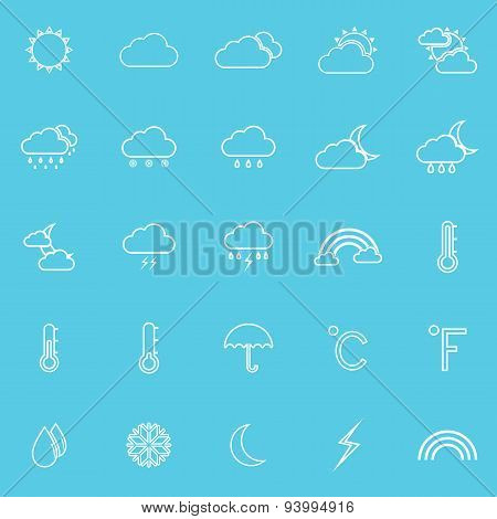 Weather Line Icons On Blue Background