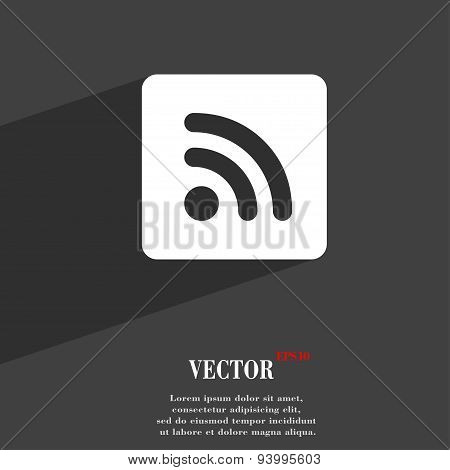 Rss Feed  Icon Symbol Flat Modern Web Design With Long Shadow And Space For Your Text. Vector