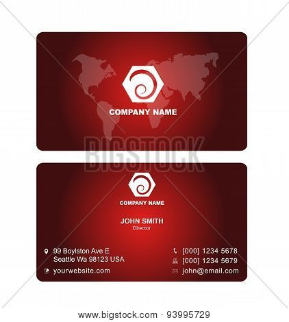 Dard Red Name Card Vector