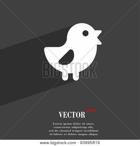 Chicken, Bird Icon Symbol Flat Modern Web Design With Long Shadow And Space For Your Text. Vector
