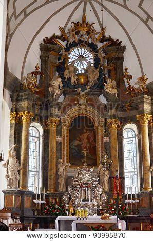 Church interior in Zamosc, Poland