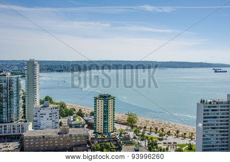 Aerial view of the waterfront at English Bay in Vancouver, British Columbia