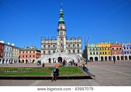Historic buildings in  Market Square in Zamosc