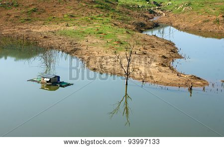 Harmony Landscape, Floating House ,reflection, Dry Tree