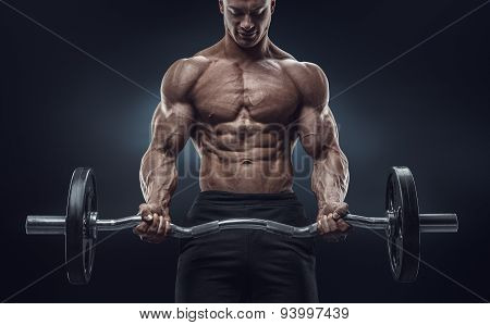 Closeup Portrait Of A Muscular Man Workout With Barbell At Gym