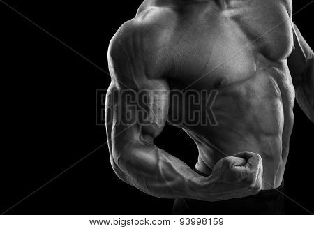 Attractive Fitness Male Athlete Showing His Biceps