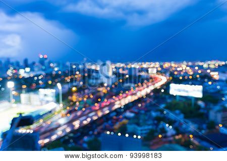 Abstract urban road night light bokeh  defocused background