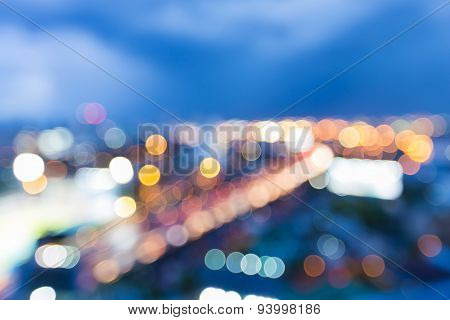 Abstract blur bokeh city road twilight background