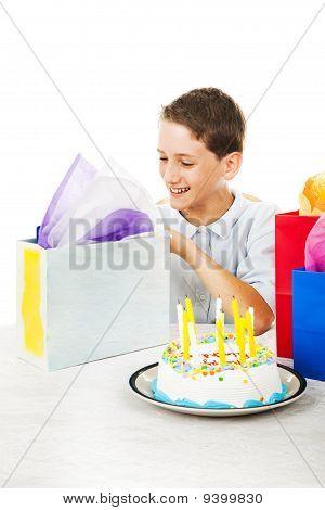 Birthday Boy Opens Presents