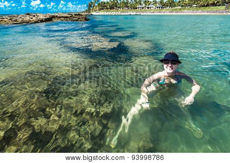 Tourist chilling out in Porto de Galinhas, Brazil